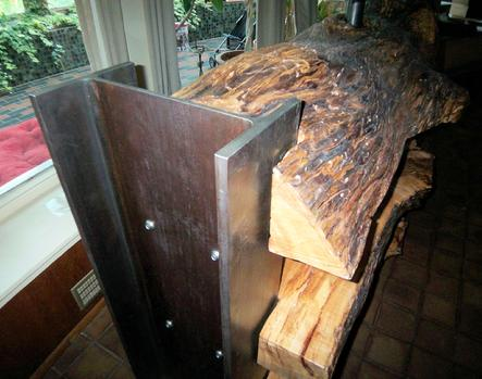 LARGE SCALE LOG FURNITURE WITH STEEL BEAMS
