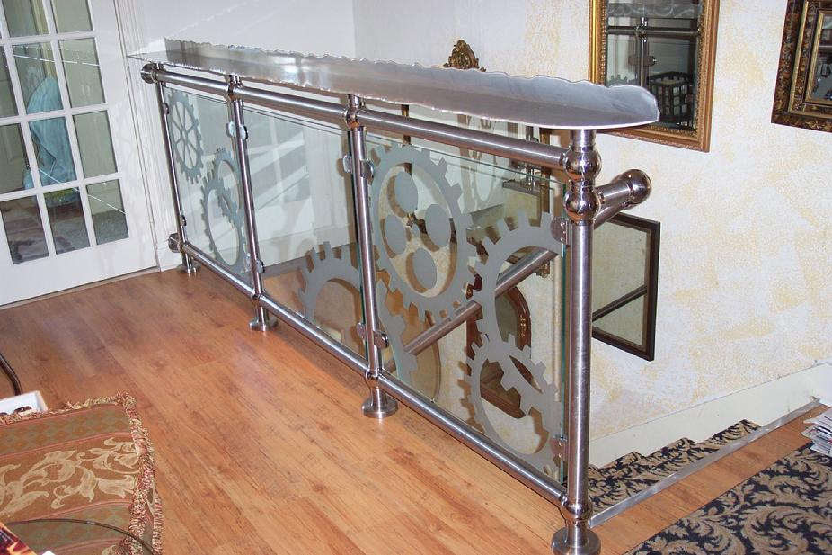 drink rail hand rail glass wall gears